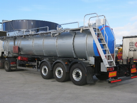 Tanker with finished commercial paint job